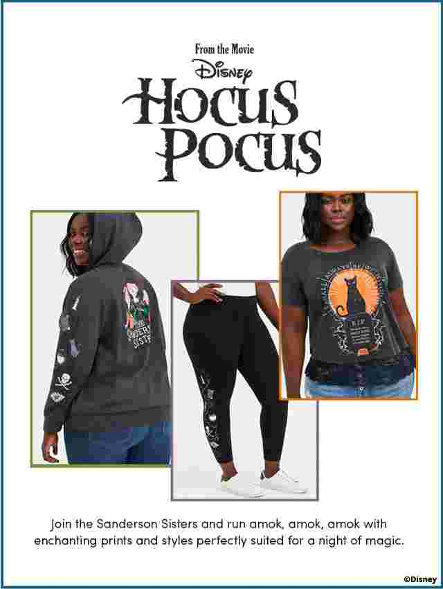 Disney Hocus Pocus. Join the Sanderson Sisters and run amok, amok, amok with enchanting prints and styles perfectly suited for a night of magic.