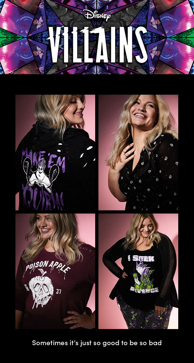 Disney Villains clothing.  Woman wearing a plus size Ursula zip hoodie. Woman wearing plus size Snow White Poison Apple sweatshirt.  Woman wearing a plus size Snow White Poison Apple tunic in black. Woman wearing a plus size Maleficent tank top.