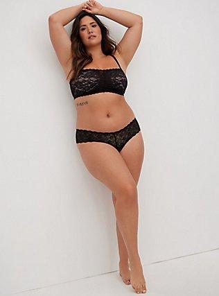 Black Lace Thong Panty, RICH BLACK, alternate