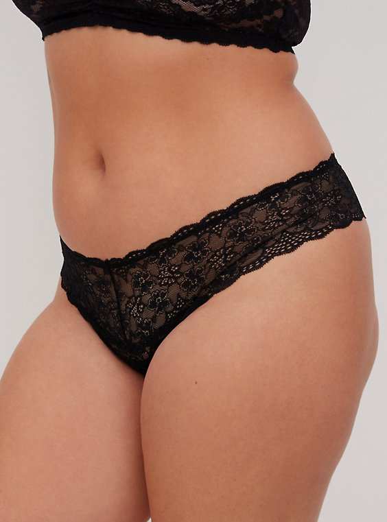Plus Size Black Lace Thong Panty, , hi-res