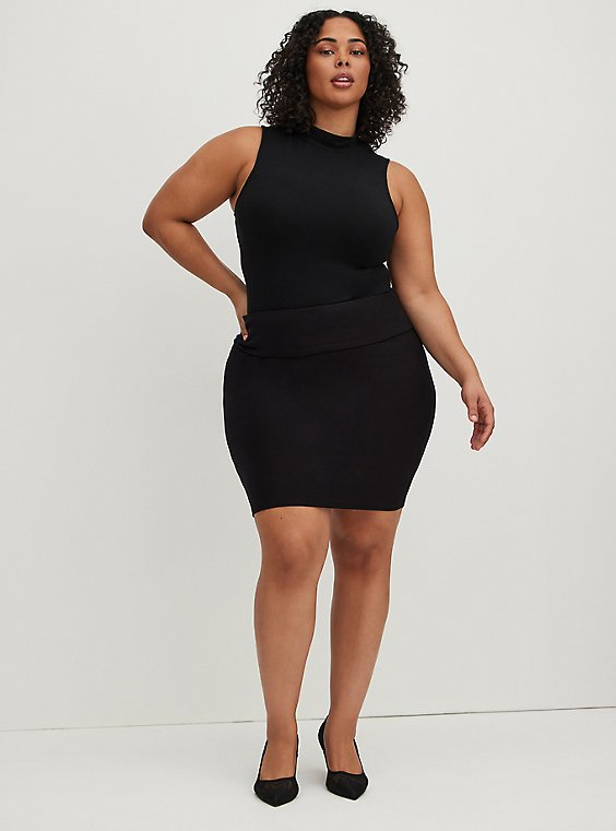 Black Knit Foldover Pencil Skirt, , hi-res