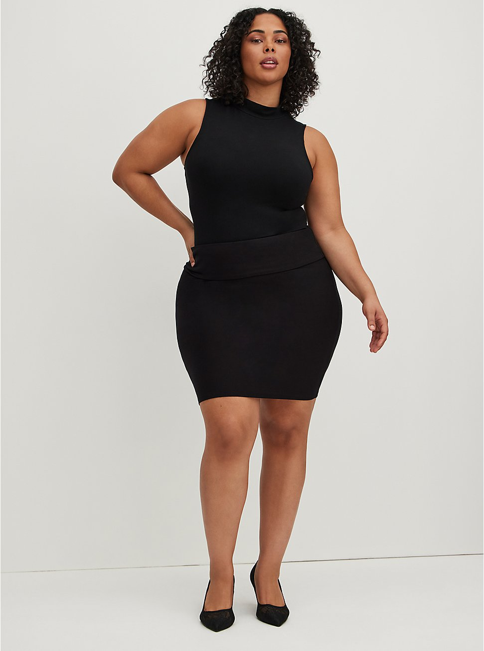Black Knit Foldover Pencil Skirt, DEEP BLACK, hi-res