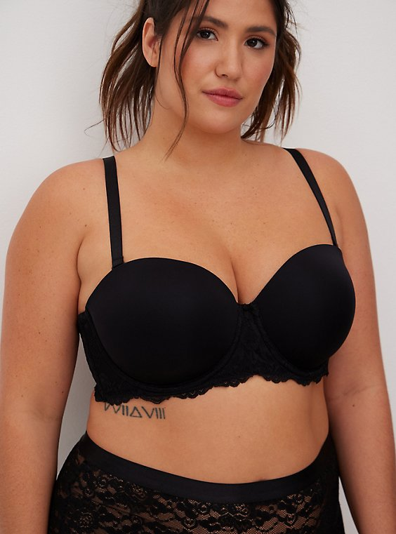 Plus Size Black Microfiber Lightly Lined Strapless Bra, , hi-res