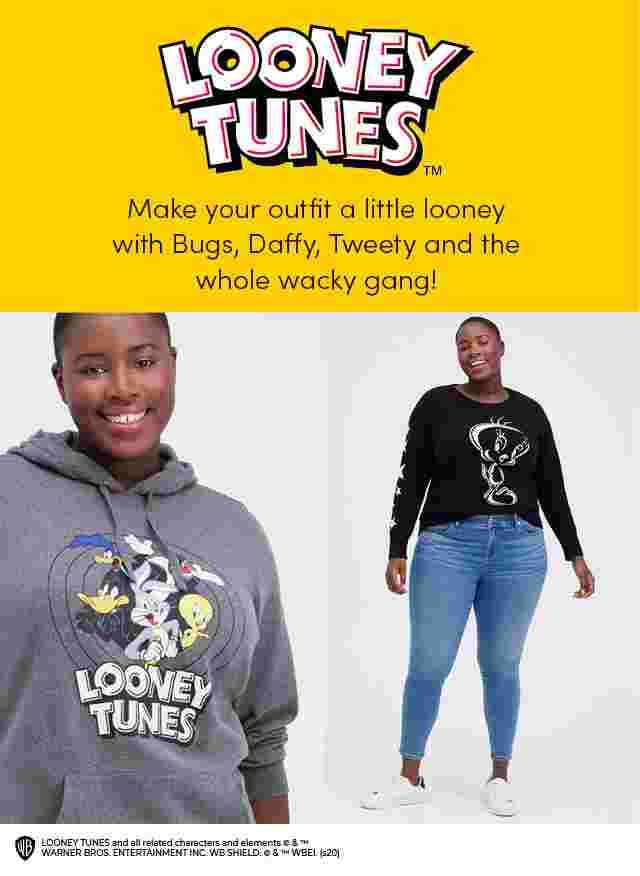 Looney Tunes. Make your outfit a little looney with Bugs, Daffy, Tweety and the whole wacky gang.