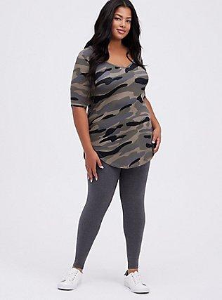 Plus Size Premium Legging - Charcoal Grey, CHARCOAL HEATHER, hi-res