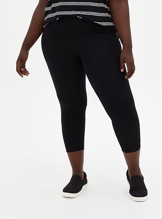 Plus Size Crop Premium Legging - Black, , hi-res