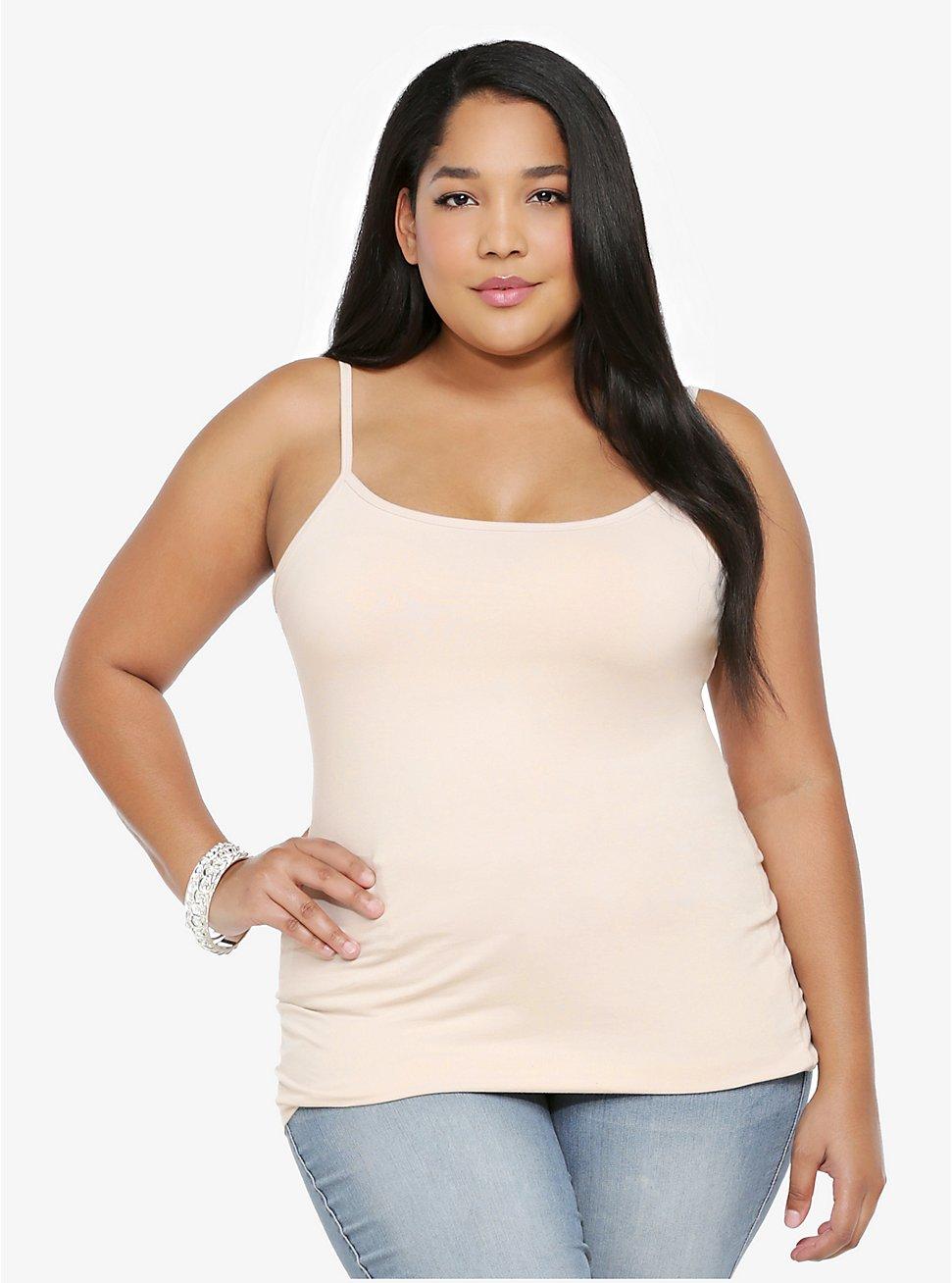 Beige Scoop Neck Foxy Cami, FROSTED ALMOND, hi-res
