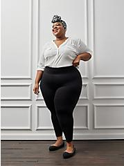 Studio Ponte Slim Fix Black Pull-On Pixie Pant, DEEP BLACK, hi-res