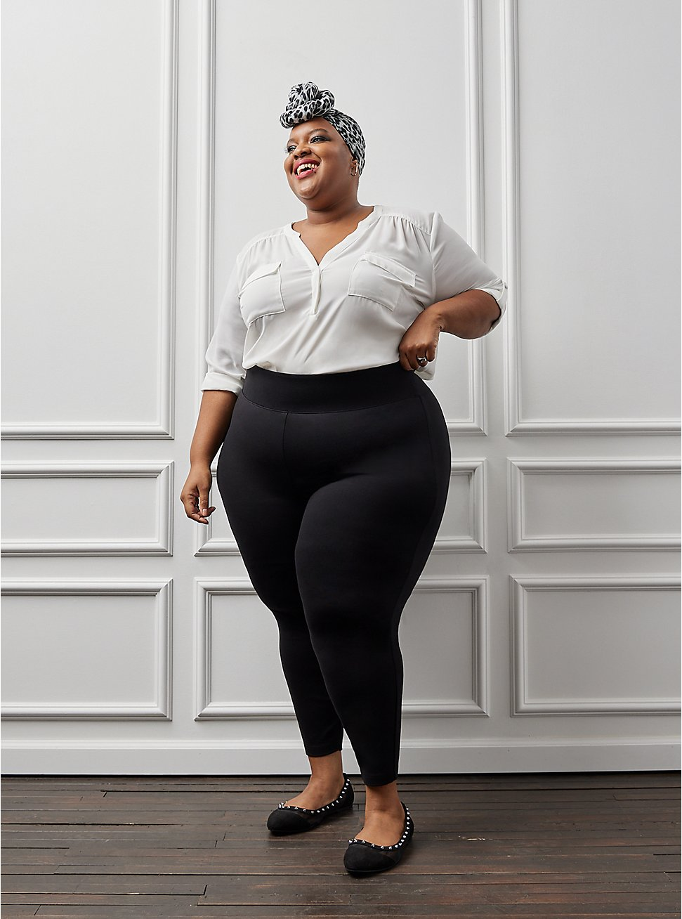 Plus Size Studio Ponte Slim Fix Black Pull-On Pixie Pant, DEEP BLACK, hi-res