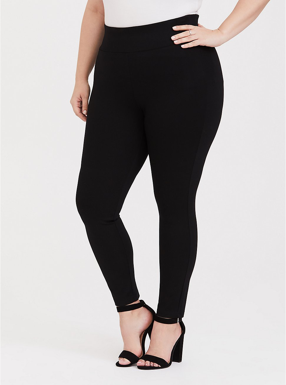 Studio Ponte Slim Fix Black Pull-On Pixie Pant, , fitModel1-hires