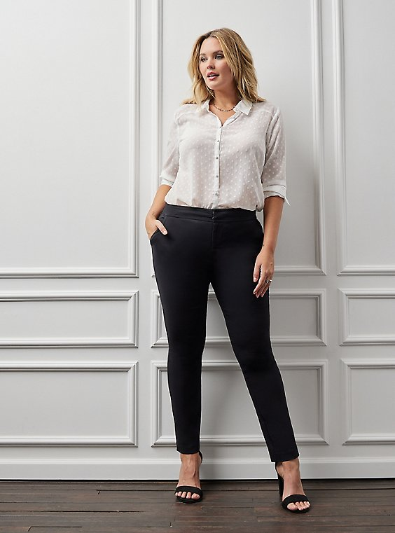 Studio Modern Deluxe Stretch Black Straight Leg Pant, , hi-res
