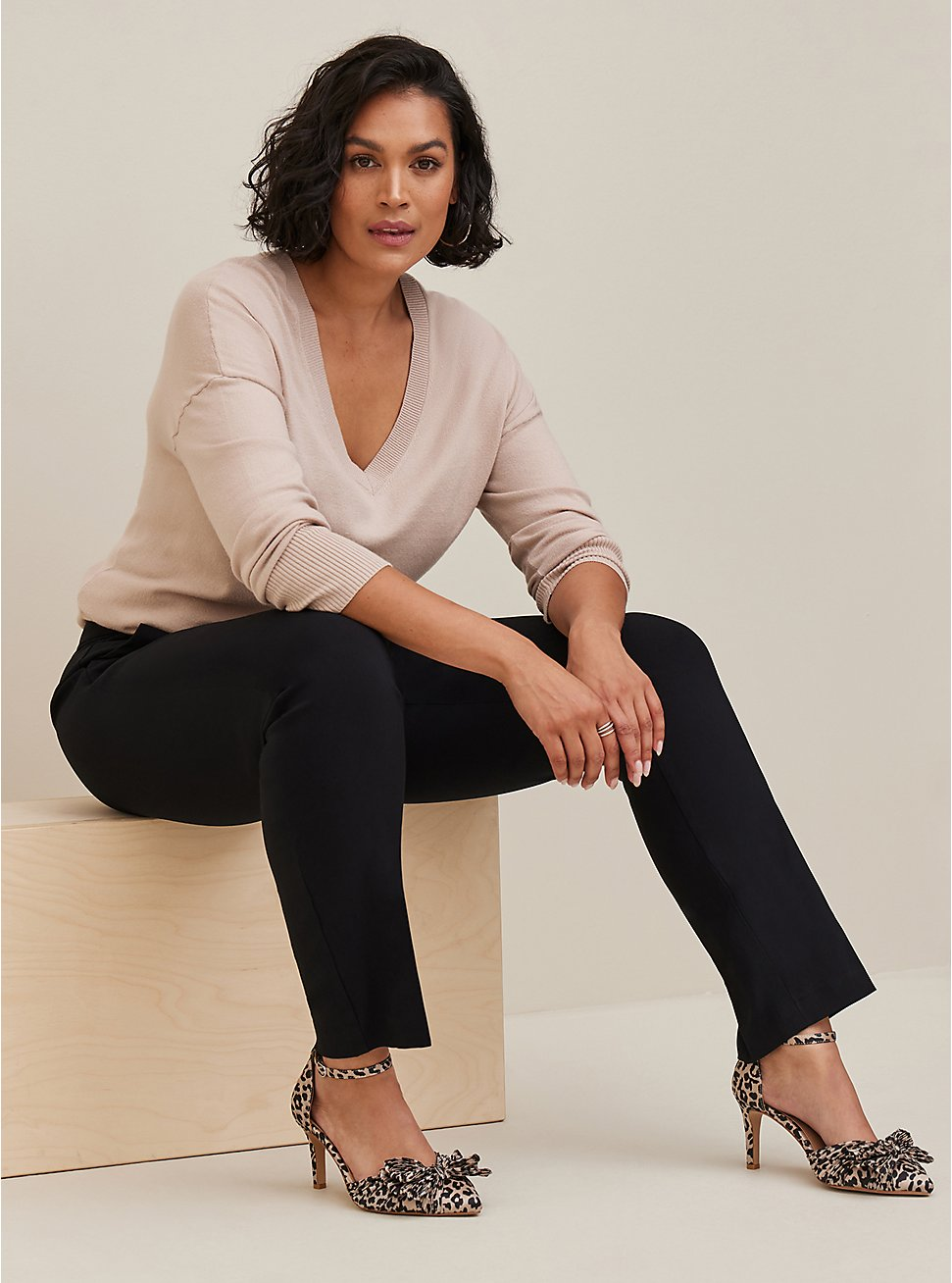 Studio Modern Deluxe Stretch Black Straight Leg Pant, DEEP BLACK, hi-res