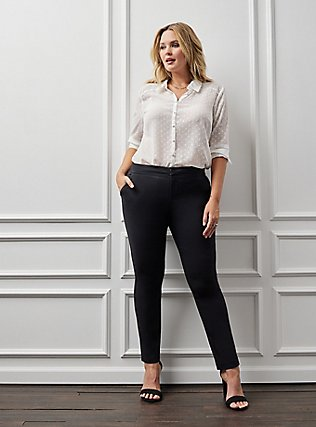 Plus Size Studio Modern Deluxe Stretch Straight Leg Pant - Black, DEEP BLACK, hi-res