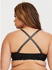 Plus Size Dark Grey Microfiber & Black Lace Push-Up Plunge Bra, MAGNET, alternate