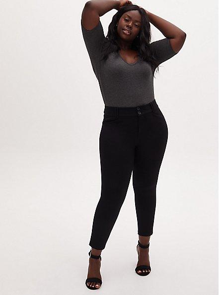 Plus Size Studio Signature Premium Ponte Stretch Ankle Skinny Pant - Black, DEEP BLACK, alternate