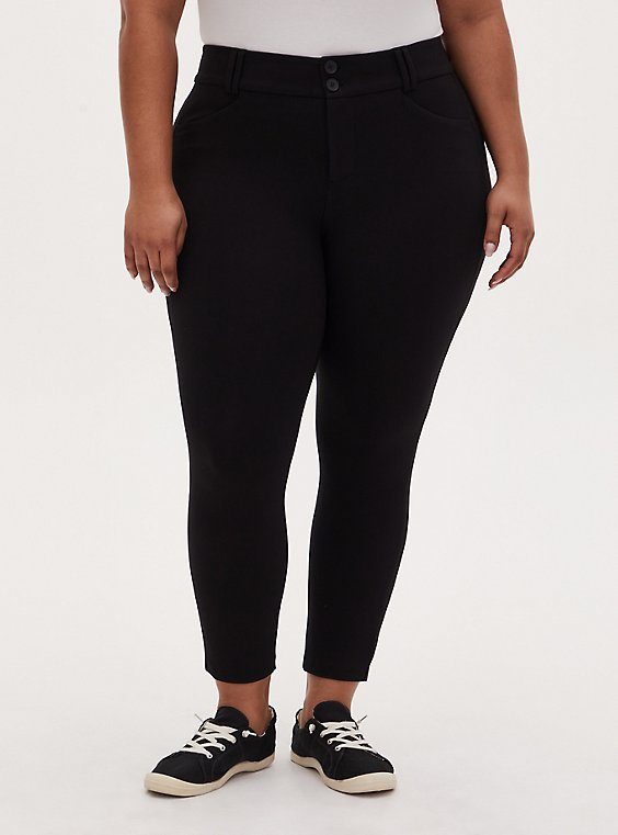 Plus Size Studio Signature Stretch Black Premium Ponte Ankle Skinny Pant, DEEP BLACK, hi-res