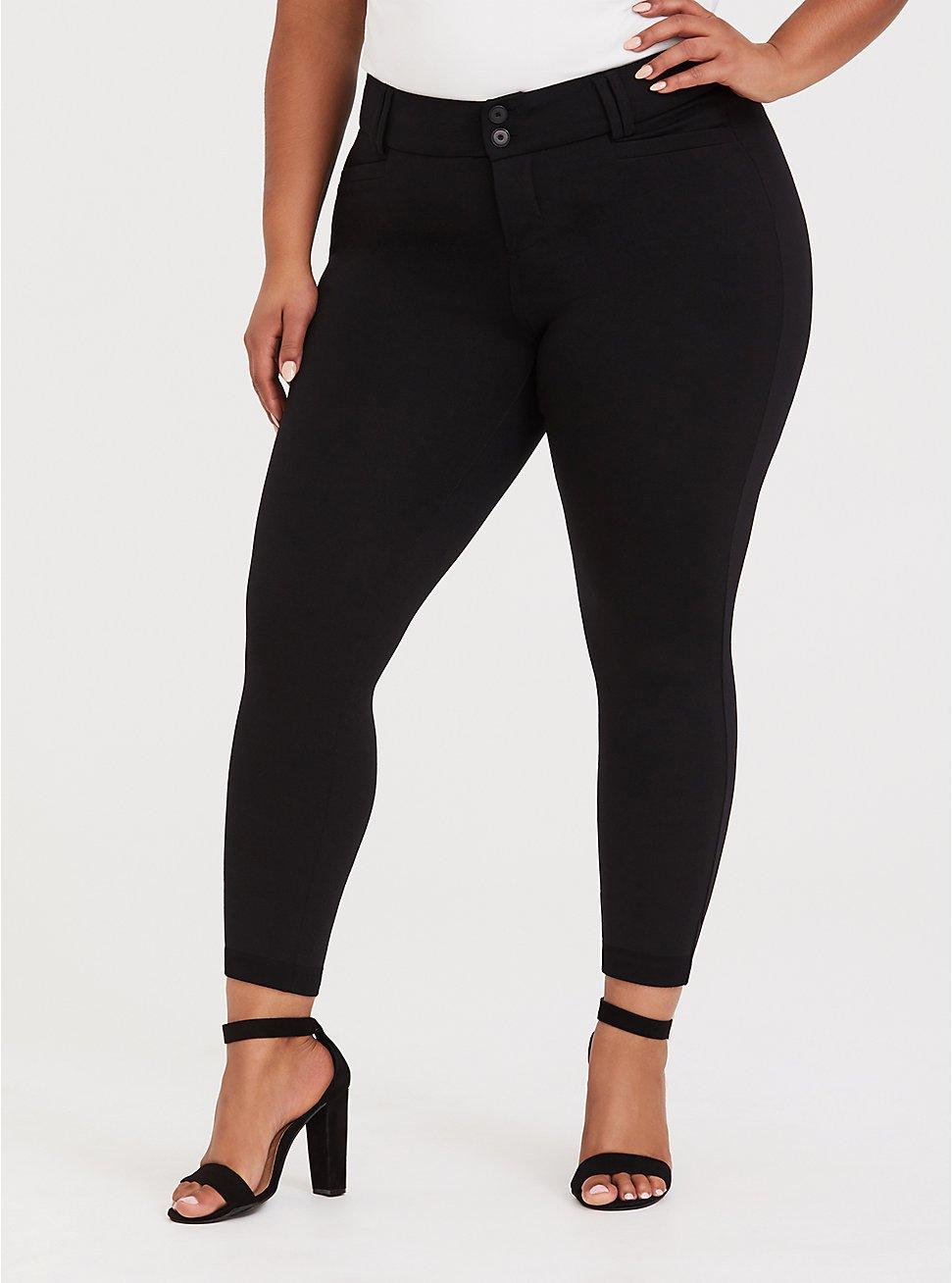 Studio Signature Stretch Black Premium Ponte Ankle Skinny Pant, , fitModel1-hires