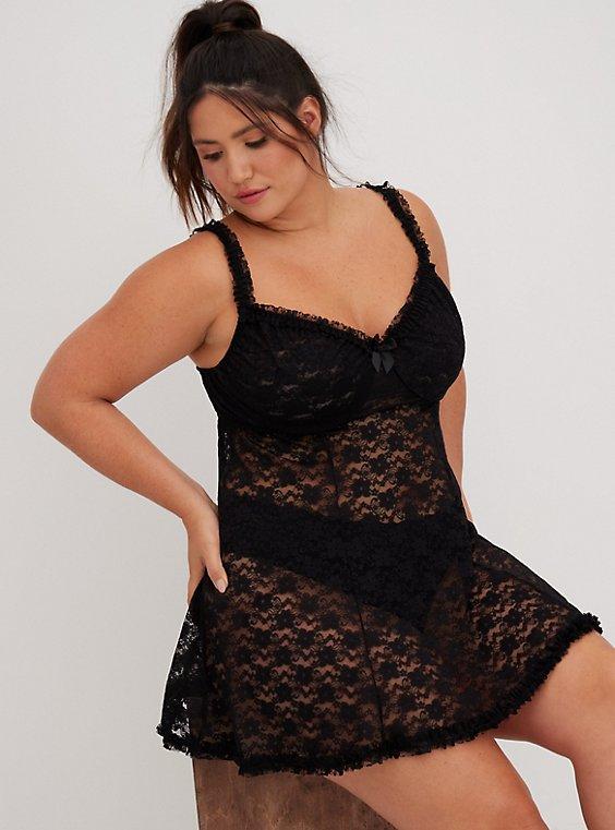 Black Underwire Lace Babydoll, , hi-res