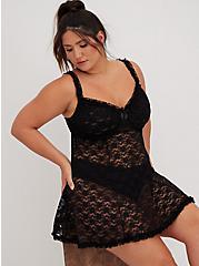 Black Underwire Lace Babydoll, RICH BLACK, hi-res