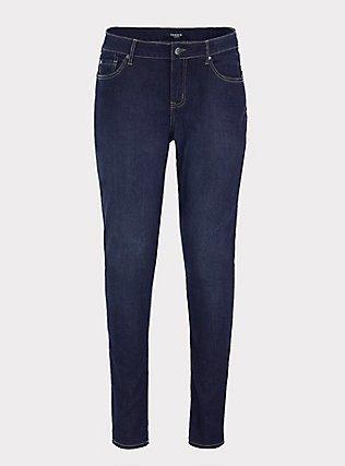 Plus Size Curvy Skinny Jean - Super Stretch Dark Wash, DUSK, flat