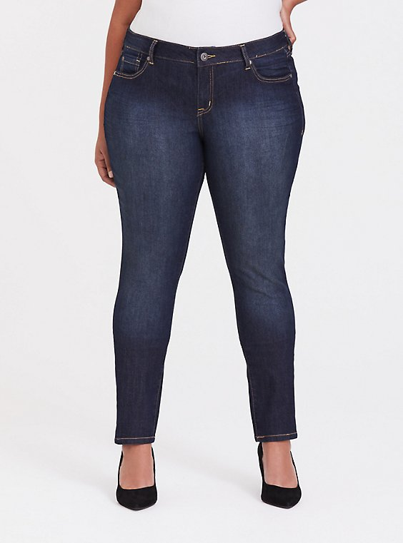 Plus Size Curvy Skinny Jean - Super Stretch Dark Wash, , hi-res
