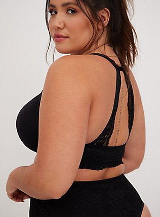 Plus Size Black Microfiber & Lace Racerback Push-Up Bra, RICH BLACK, alternate
