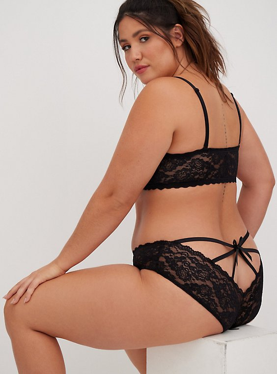 Plus Size Black Lace Caged Hipster Panty, , hi-res