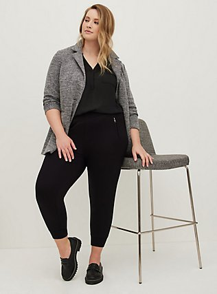 Plus Size Harper - Black Georgette Pullover Blouse, DEEP BLACK, alternate