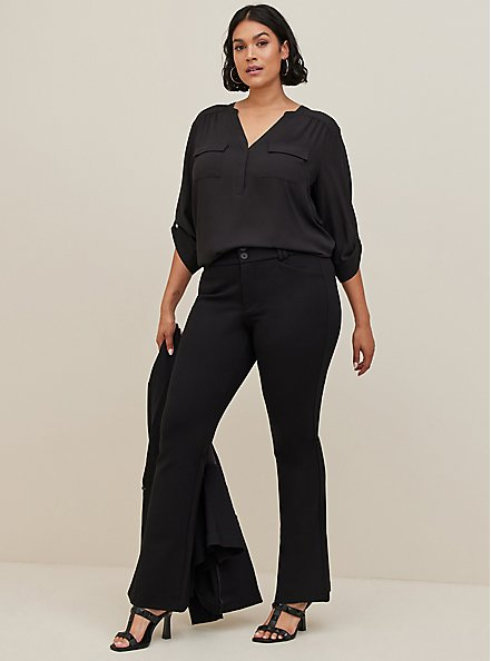 Harper - Black Georgette Pullover Blouse, DEEP BLACK, alternate