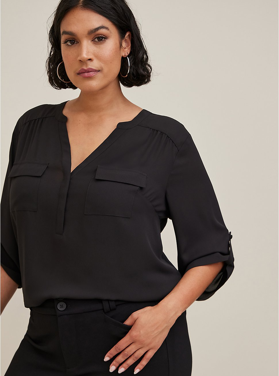 Plus Size Harper - Black Georgette Pullover Blouse, , hi-res