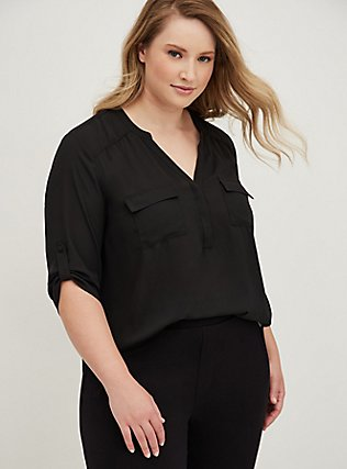Plus Size Harper - Black Georgette Pullover Blouse, DEEP BLACK, hi-res