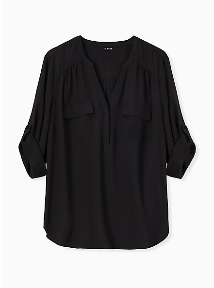 Harper - Black Georgette Pullover Blouse, DEEP BLACK, hi-res