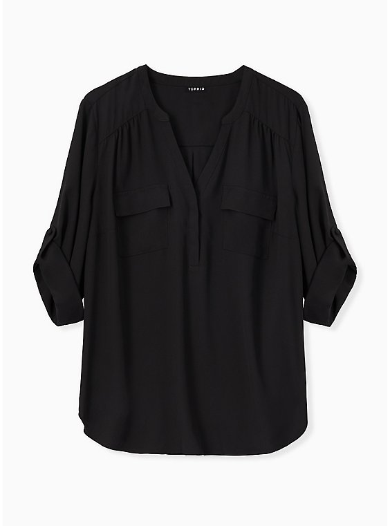 Harper - Black Georgette Pullover Blouse, DEEP BLACK, ls