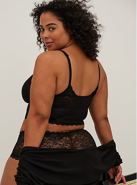Plus Size Black Lace Bralette, RICH BLACK, alternate
