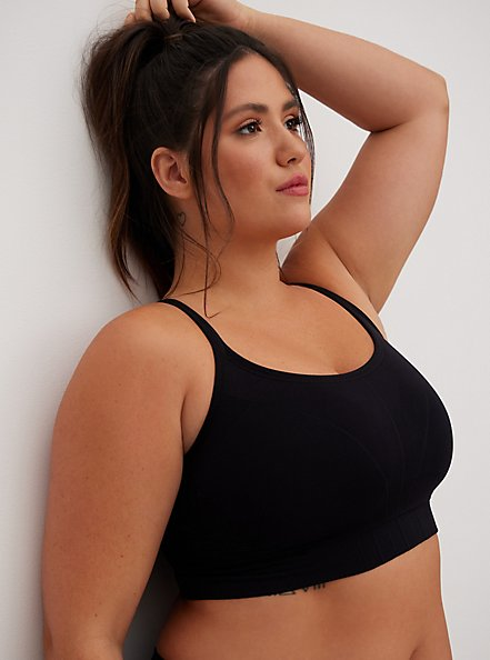 Black Racerback Seamless Bralette, BLACK, alternate