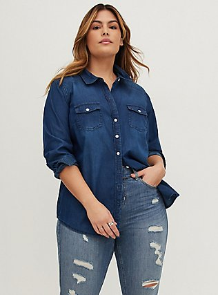 Plus Size Taylor - Dark Denim Button-Up Shirt, DARK DENIM, alternate