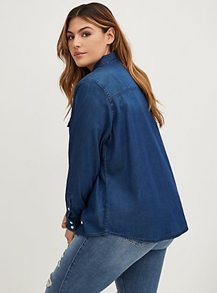 Taylor - Dark Denim Button-Up Shirt, DARK DENIM, alternate
