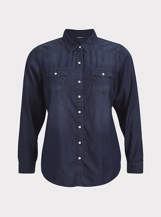 Taylor - Dark Denim Button-Up Shirt, , flat
