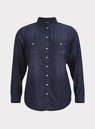 Taylor - Dark Denim Button-Up Shirt, DARK DENIM, flat