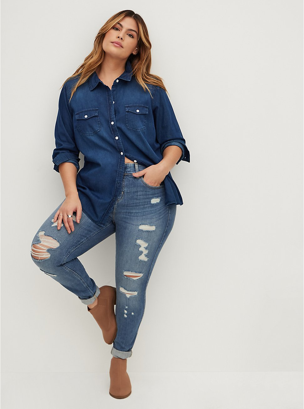 Taylor - Dark Denim Button-Up Shirt, , hi-res