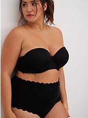 Black Microfiber & Lace Push-Up Multiway Strapless Bra, BLACK, alternate