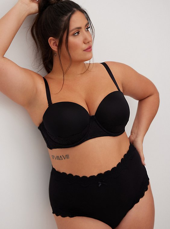 Plus Size Black Microfiber & Lace Push-Up Multiway Strapless Bra, , hi-res