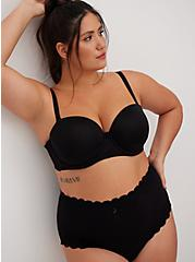 Black Microfiber & Lace Push-Up Multiway Strapless Bra, BLACK, hi-res