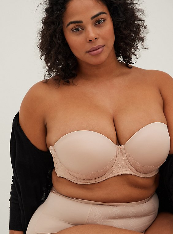 Plus Size Nude Microfiber & Lace Push-Up Multiway Strapless Bra , , hi-res