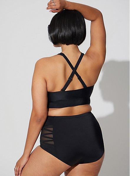 Black Lattice Mesh Inset High Waist  Swim Bottom, BLACK, alternate