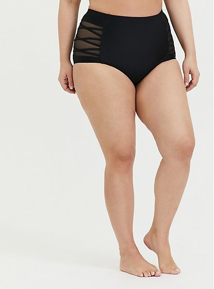 Black Lattice Mesh Inset High Waist  Swim Bottom, BLACK, hi-res