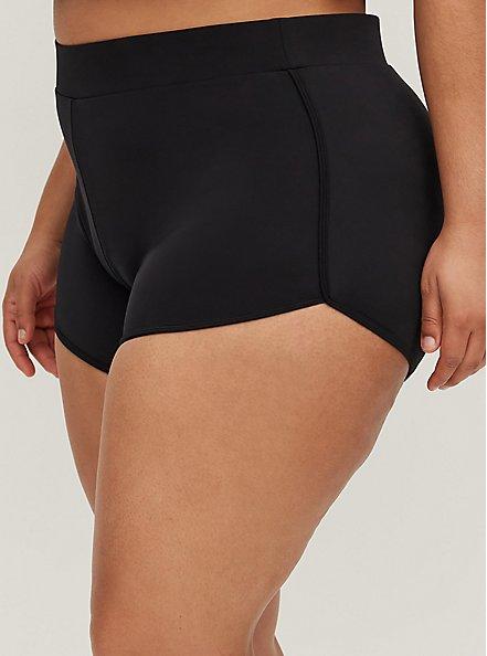 Plus Size Black Dolphin Hem Swim Short, BLACK, alternate