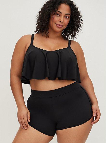 Plus Size Black Dolphin Hem Swim Short, BLACK, hi-res