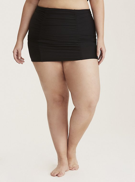 Plus Size Black Ruched High Waist Swim Skirt, , hi-res