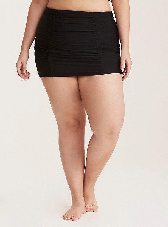 Black Ruched High Waist Swim Skirt, , hi-res
